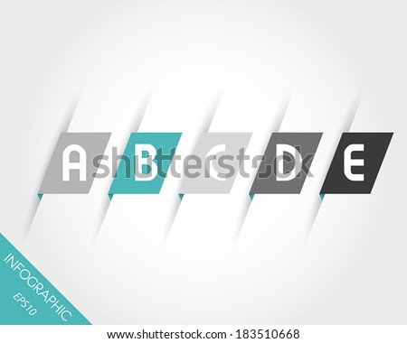 turquoise oblique modern paper stickers with letters. infographic concept.