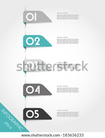 turquoise oblique round origami stickers. infographic concept.