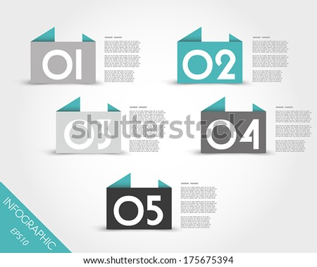 turquoise origami banners. infographic concept.