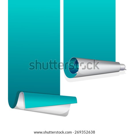 Turquoise sticker with curled up edge. Vector illustration - stock vector