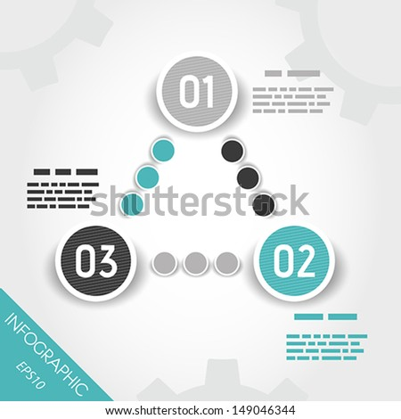 turquoise striped three circle button. infographic concept.