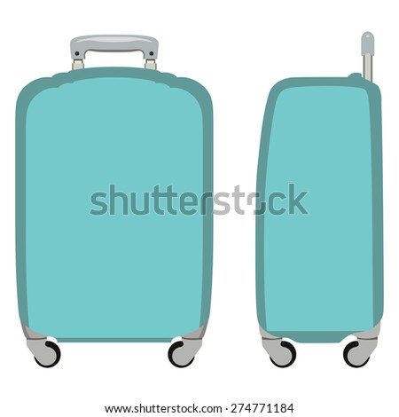 Turquoise suitcase on a white background - stock vector