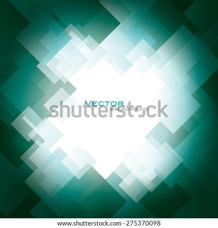 Turquoise Vector Background with Shiny Squares. - stock vector