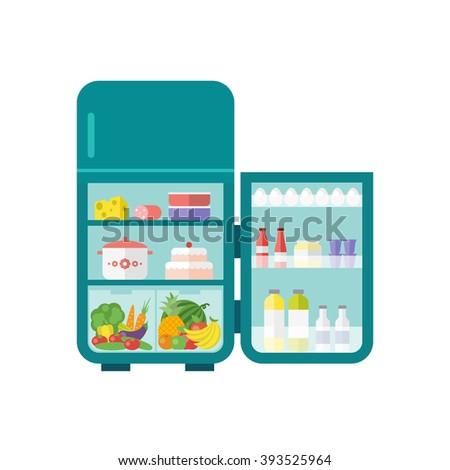 Turquoise vintage outdoor refrigerator with food isolated on white background. Flat illustration. Vector 10 EPS. - stock vector