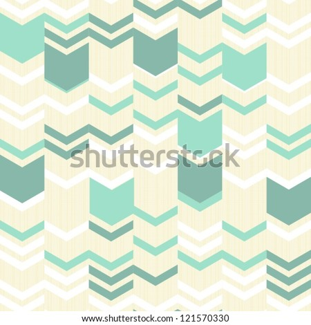 turquoise white beige simple arrows retro traditional geometric pattern - stock vector