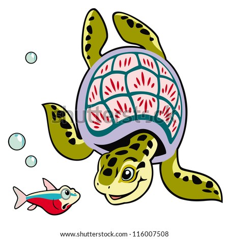 turtle and fish,cartoon tortoise,sea animals,vector image isolated on white background,children illustration,picture for little kids - stock vector