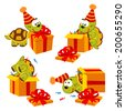 turtle and gift - vector  illustration, eps - stock vector