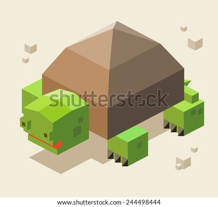 turtle. 3d pixelate isometric vector - stock vector
