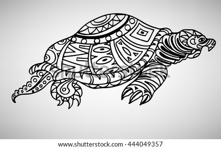 Turtle. Hand-drawn with ethnic pattern. Coloring page - isolated on a white background. Zendoodle patterns. Vector illustration.