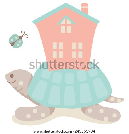 Turtle House / Whimsical Illustration A happy turtle carrying his house on his back with his ladybug friend. He carries his burdens and responsibilities with a spirit of fun. Easy to edit vector. - stock vector