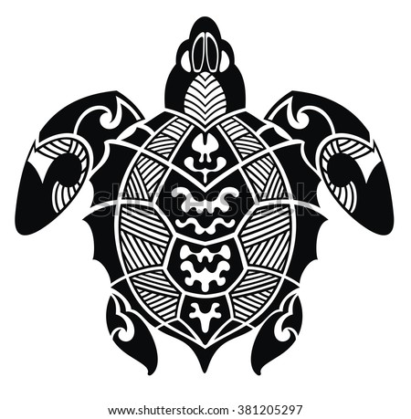 Turtle in a tribal on a white background