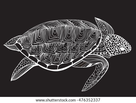 Turtle in zentangle zenart doodle style, isolated on black background. Hand drawn sketch for adult antistress coloring page, logo or tattoo with doodle, zen, line and dot design elements.