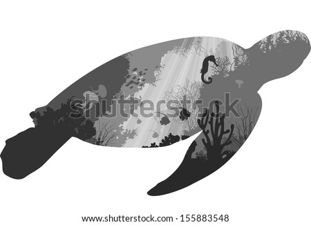 turtle. inside the underwater world of coral reefs and various marine inhabitants. white background, vector illustration. black and white - stock vector