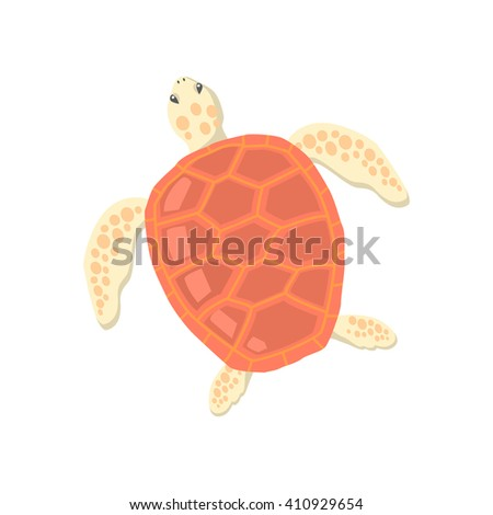 Turtle isolated on white background design flat. Tortoise with a big red carapace. The head and fins are covered with turtles speckled pattern. Creature  wildlife of wold world. Vector illustration - stock vector
