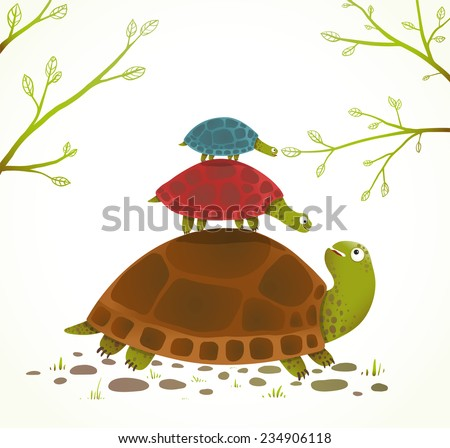 Turtle Mother and Babies Childish Animal Illustration. Watercolor style drawing of mom and her children. Vector illustration EPS10. - stock vector