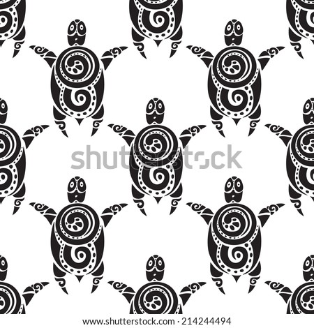 Turtle. Polynesian tribal pattern. Seamless Vector background. - stock vector