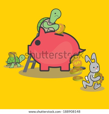 turtle Rabbit saving and spending money - vector  - stock vector
