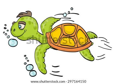 Turtle swims cartoon - stock vector