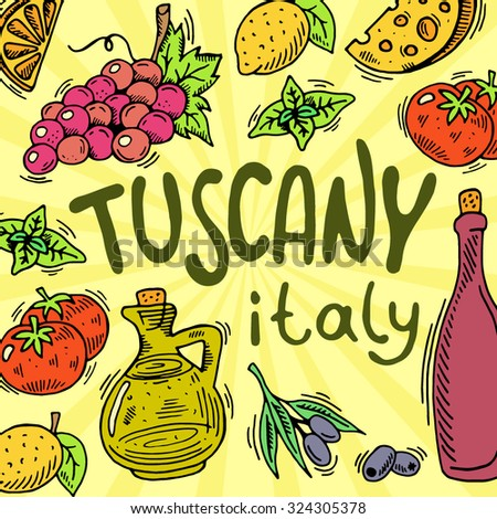Tuscany food. Can be used for menu, background and other design.