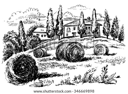 Tuscany landscape. Graphic hand drawn illustration. Vector graphics. - stock vector
