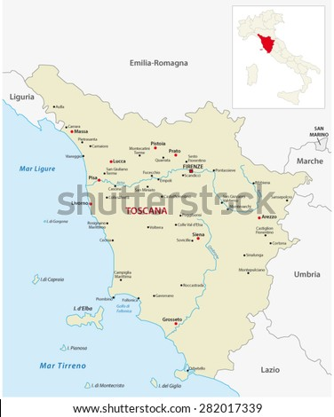 Tuscany Map Outline Map Italy Stock Vector 2018 282017339