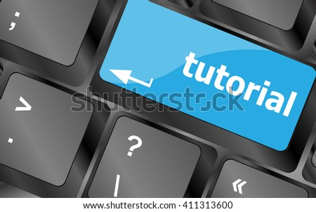 tutorial or e learning concept with key on computer keyboard. Keyboard keys icon button vector - stock vector
