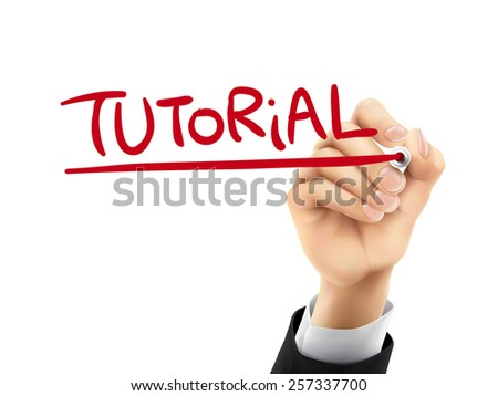 tutorial word written by hand on a transparent board - stock vector