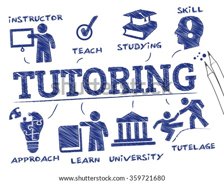 tutoring concept. Chart with keywords and icons - stock vector