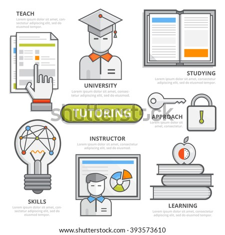 Tutoring design concept, flat line design elements of  teach, studying, university, skills, instructor, learning, approach, coaching, qualification, graduation. Illustration, Infographic template. - stock vector