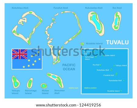 Tuvalu Map Flag Bright Colorful Map Stock Vector 124419256
