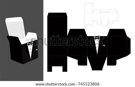 tuxedo printable square packaging lid groom stockvektor 745523806 shutterstock. Black Bedroom Furniture Sets. Home Design Ideas