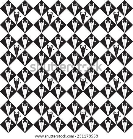 Tuxedo silhouette pattern, hand drawn, vector illustration - stock vector