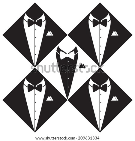 Tuxedo suits silhouette. Hand drawn, vector Illustration. - stock vector