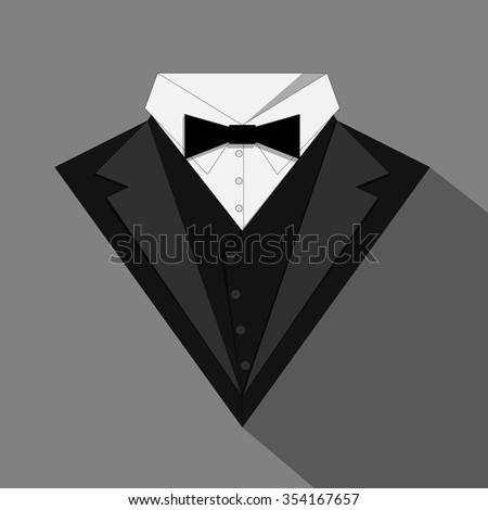 Tuxedo with a bow tie. Stock vector illustration.