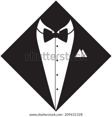 Tuxedo with bow silhouette. Hand drawn, vector illustration - stock vector