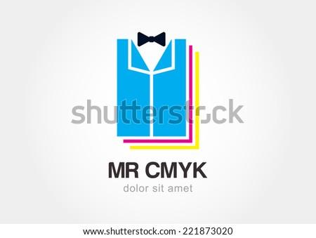 Tuxedo with bow tie. Creative printing CMYK icon. Vector logo design template. - stock vector