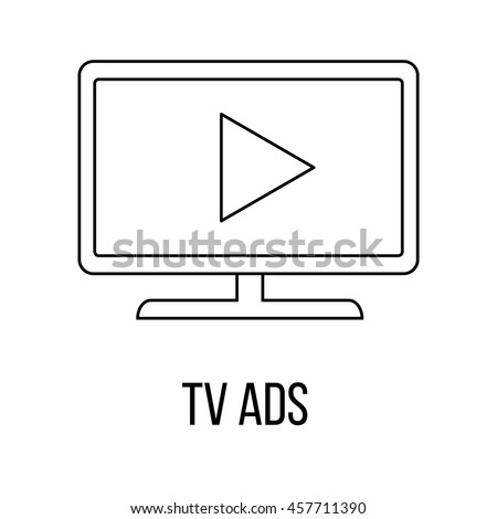 TV Ads icon or logo line art style. Vector Illustration.