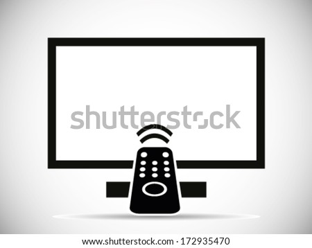 TV And Remote Illustration - stock vector