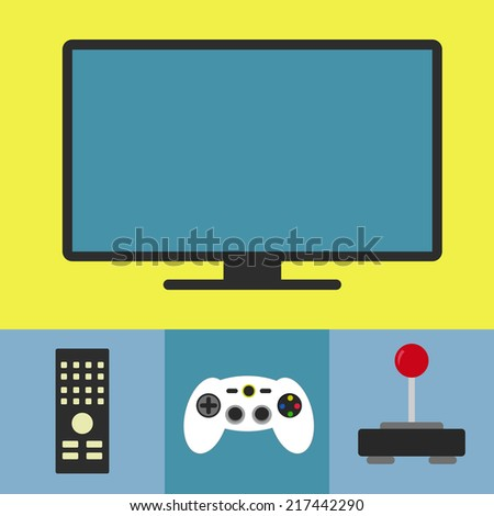 Tv and video game. Tv monitor, remote control, console and joystick. - stock vector