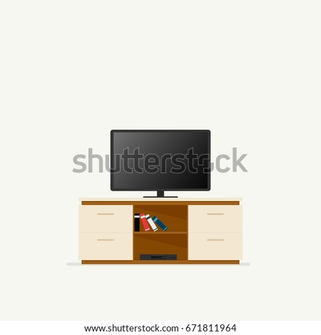 Tv cabinet. Vector illustration isolated on white background