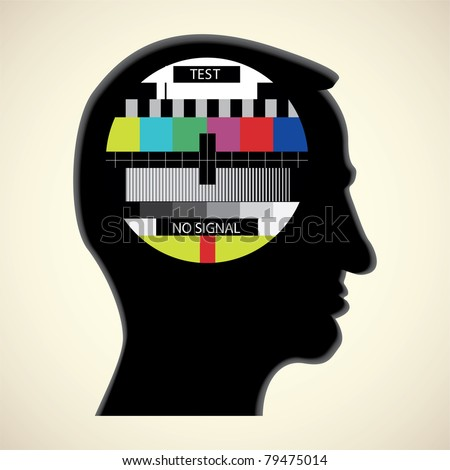 tv color test in human head - abstract illustration - stock vector