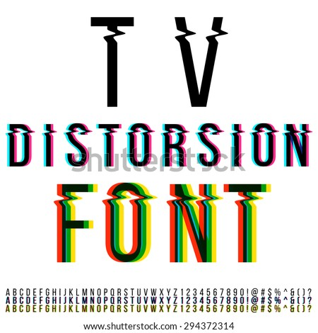 Tv distortion font, three version with color aberration. Vector - stock vector