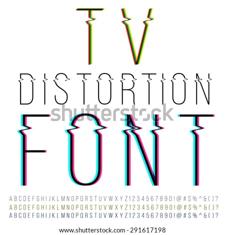 Tv distortion thin font, three version with color aberration. Vector - stock vector