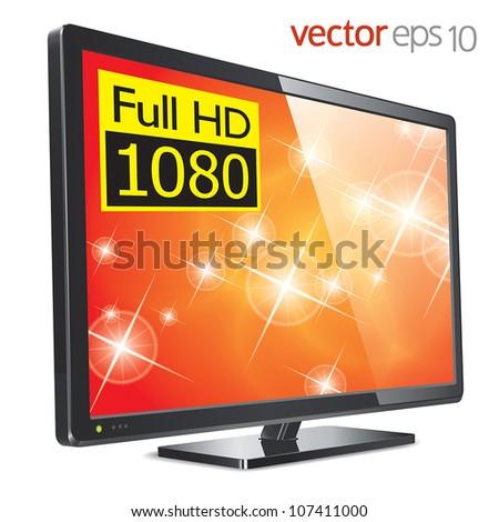 TV flat lcd screen - stock vector