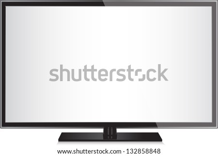 TV flat screen lcd, plasma realistic vector illustration. - stock vector