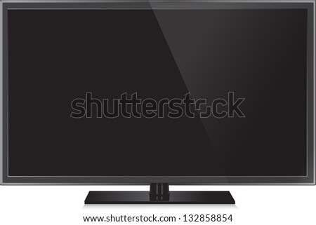 TV flat screen lcd, plasma realistic vector illustration. - stock vector