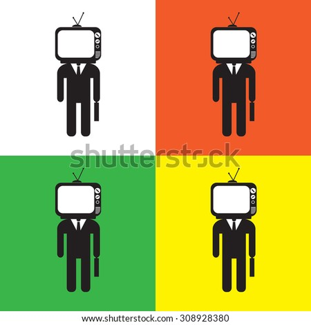 TV head businessman with color variations, vector EPS 10. - stock vector