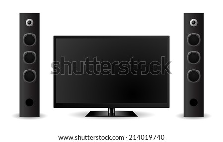 tv home theater with sound speaker design - stock vector