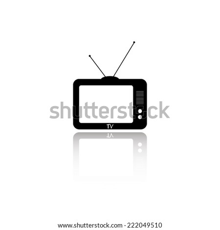 TV icon - black vector illustration with reflection - stock vector