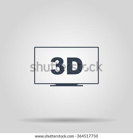TV icon. Flat design style eps 10 - stock vector